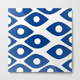 Blue and White Pattern Fish Eye Design Metal Print