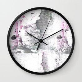 Gray Pink hand-drawn watercolor pattern Wall Clock