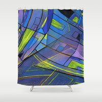 cities Shower Curtains featuring Purple cities by Squidfeathers