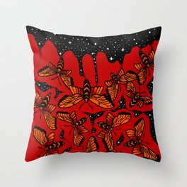 Moths And Stars Throw Pillow
