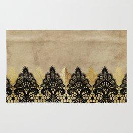 Elegance- Ornament black and gold lace on grunge paper backround Rug