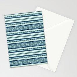Mint and Navi Tribal Pattern Stationery Cards