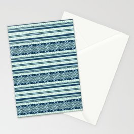 Mint and Navi Tribal Pattern Stationery Cards
