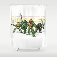 ninja turtles Shower Curtains featuring Philippine Revolutionary Ninja Turtles by Cesar Cueva