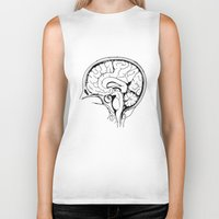 brain Biker Tanks featuring Brain by Etiquette
