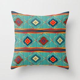 Southwestern Motif in Blue Throw Pillow