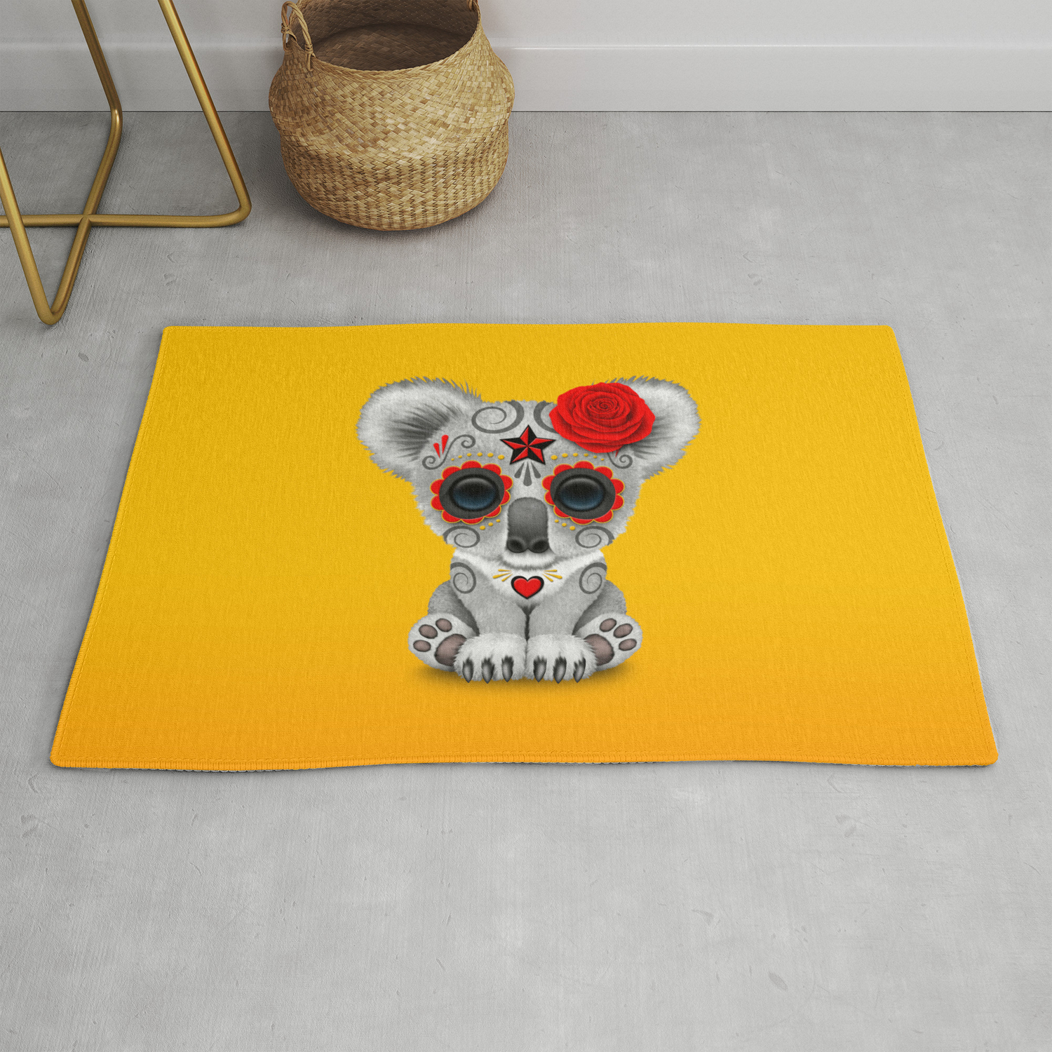 Red and Yellow Day of the Dead Sugar Skull Baby Koala Bear Rug by  jeffbartels