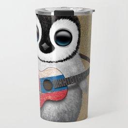 Baby Penguin Playing Slovakian Flag Guitar Travel Mug