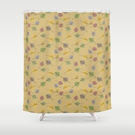Colorado Aspen Tree Leaves Hand-painted Watercolors in Golden Autumn Shades on Jute Beige Shower Curtain