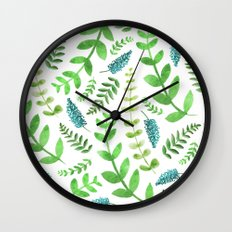 Greenery Leaves Pattern Wall Clock