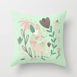 Tiny Deer with Florals || Soft Pink and Mint Palette Throw Pillow