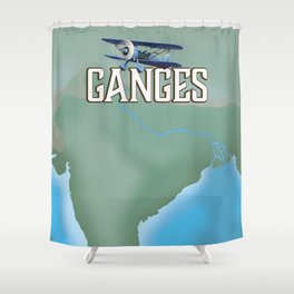 River Ganges Map Shower Curtain