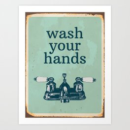 Wash Your Hands | Bathroom Rules, Vintage Distressed Bathroom Sign, Farmhouse Decor Art Print
