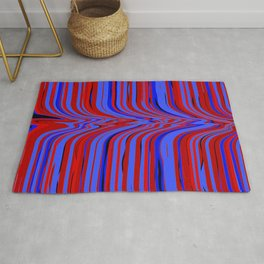 red and blue flowing Rug