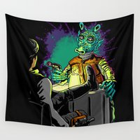 han solo Wall Tapestries featuring Han Solo and greedo by trevacristina
