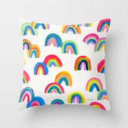 Abstract Rainbow Arcs - White Palette Throw Pillow