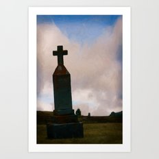 Cross on the Hill Art Print