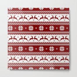Dark Christmas Candy Apple Red Nordic Reindeer Stripe Metal Print