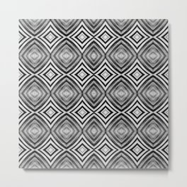 Black White Diamond Pattern Metal Print