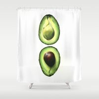 avocado Shower Curtains featuring Avocado by Sam Luotonen