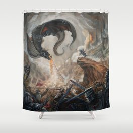 Black Battle Dragon Shower Curtain