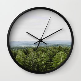 Mid Century Modern Round Circle Photo Graphic Design Pine Forest With Rolling Hills Wall Clock
