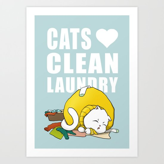 Cats love clean laundry Art Print