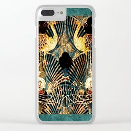 Art Deco Malachite and Gold Peacocks Clear iPhone Case