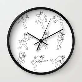 American Baseball Pitcher Throwing Ball Complete Set Wall Clock