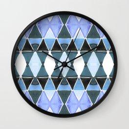 Art Deco Triangles Light Blue Wall Clock