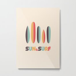 Sun & Surf Surfboards - Retro Rainbow Metal Print