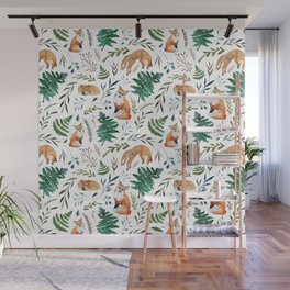 Foxes and Ferns Pattern Wall Mural