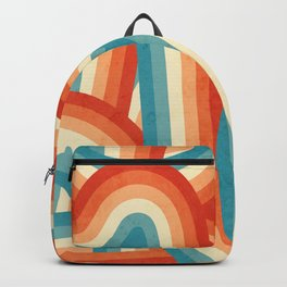 Red, Orange, Blue and Cream 70's Style Rainbow Stripes Backpack