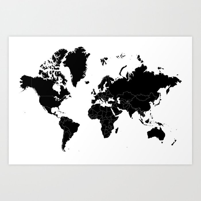 Minimalist world map black on white background art print by minimalist world map black on white background art print gumiabroncs Image collections