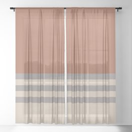 Slate Violet Gray SW9155 and Creamy Off White SW7012 Horizontal Stripes on Cavern Clay SW 7701 Sheer Curtain