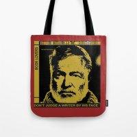 hemingway Tote Bags featuring Ernest Hemingway Bokk Lovers by Guido prussia
