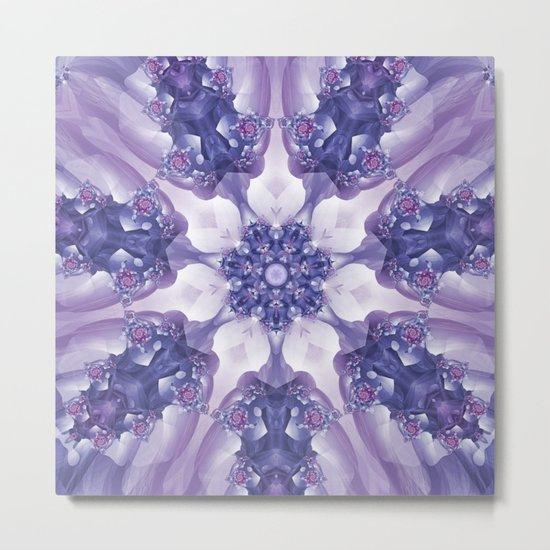 Violet and Magenta Fractal Kaleidoscope Mandala Metal Print