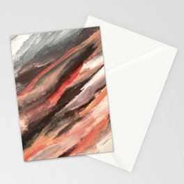 Moving Mountains: an abstract mixed media piece in contrasting pinks, purples, blues, and whites Stationery Cards
