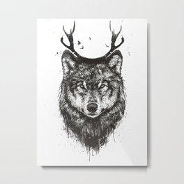 Deer wolf (b&w) Metal Print