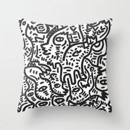Graffiti Street Friends Black and White Doodle Throw Pillow
