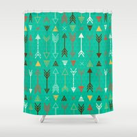 arrows Shower Curtains featuring Arrows by Claire Lordon