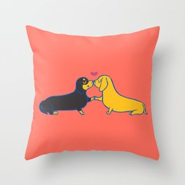 Dachshund Kisses Throw Pillow