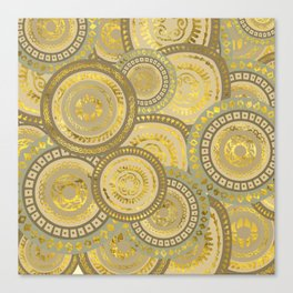 Circular Ethnic  pattern pastel gold and beige Canvas Print