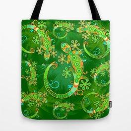 Gecko Lizard Colorful Tattoo Style Tote Bag