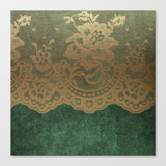 Green Lace Velvet Canvas Print