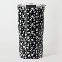 White skull pattern on black - deluxe Travel Mug