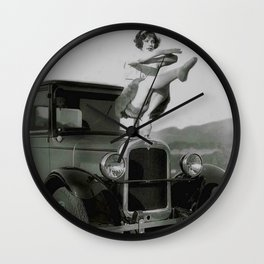 Classical Ballet Toe Pointe technique on the hood of classic car black and white photograph / art photography Wall Clock