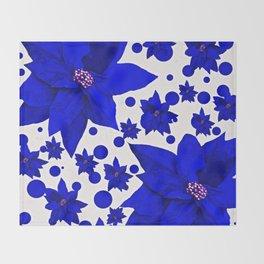 Poinsettia Blue Indigo Pattern Throw Blanket