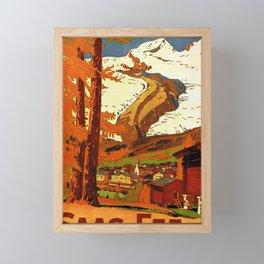 ancienne affiche saas fee 1800m winter and summer sports arbre Framed Mini Art Print