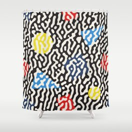 Retro Jumble Black and White Drips And Color Polygons Pattern Abstract Seamless Background Shower Curtain